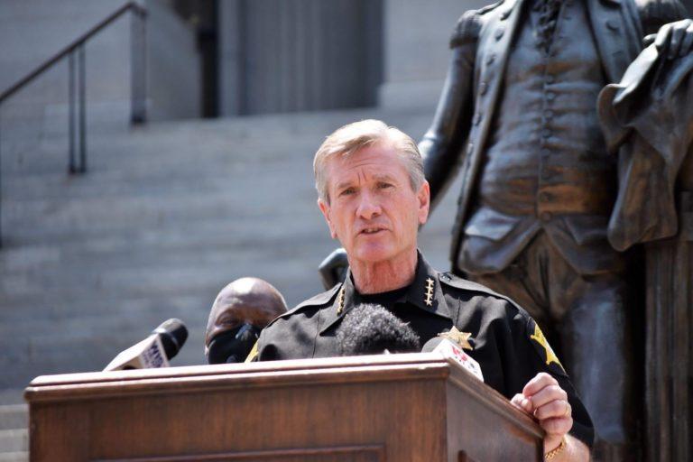 Sheriff Leon Lott at podium at SC Statehouse