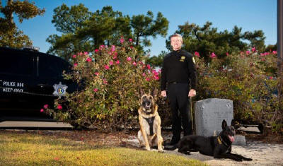 Sheriff Lott standing in front of K9 memorial with two dogs